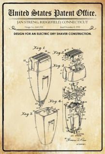Blechschild Patent für einen elektrischer Trockenrasierer Deko 20 x 30 Kordel