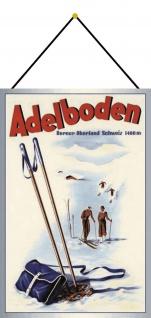 Blechschild Adelboden Schweiz Ski Metallschild Deko 20x30 tin sign mit Kordel