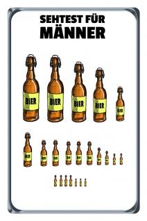 Blechschild Sehtest Männer (Bierflaschen) Metallschild Wanddeko 20x30 tin sign