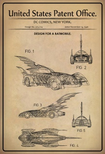 US Patent Office - Design for A Batmobile - Entwurf für ein Batmobile - DC Comics, New York, 1996 - Design No 375.704 - Blechschild