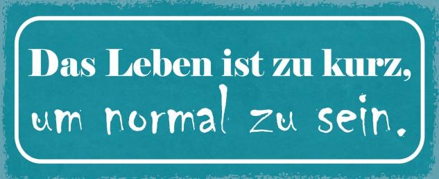 Blechschild Spruch Das Leben ist zu kurz, um normal zu sein Metallschild 27x10 Deko tin sign