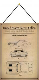 Blechschild Patent Entwurf für Kraftfahrzeug Auto 1 Metallschild 20 x 30 Kordel