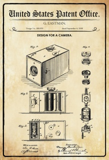 US Patent Office - Design for a Camera - Entwurf für ein Kamera - Eastman, 1888 - Design No 388.850 - Blechschild