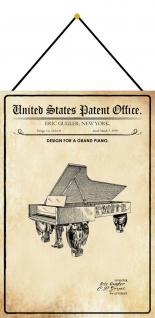 Blechschild Patent Entwurf für einen Konzertflügel Metallschild 20 x 30 m.Kordel