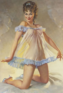 Nostalgie Pin up sexy Frau im Negligé Blechschild 20x30 cm