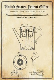 Blechschild Patent Entwurf für Kaffeekanne-Matthes Metallschild Wanddeko 20x30 cm tin sign