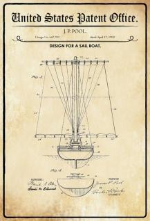 Blechschild Patent Entwurf für Sail- Boat Seegelboot Metallschild Wanddeko 20x30 cm tin sign