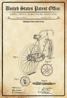 Blechschild Patent Entwurf Fahrrad Hentz- Maryland Metallschild Wanddeko 20x30 cm tin sign