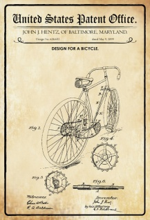 US Patent Office - Design for A bicycle - Entwurf für ein Fahrrad - Hentz, Maryland 1899 - Design No 624.651 - Blechschild