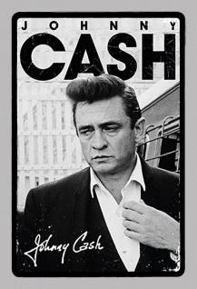 Johnny Cash schwarz weiß musiker legende blechschild