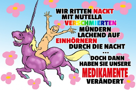 """"""" Wir ritten nackt mit nutella?."""" blechschild, lustig, comic, metallschild, einhorn, unicorn"""
