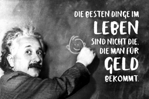 Blechschild Spruch Die besten Dinge im Leben sind Einstein Metallschild Wanddeko 20x30 cm tin sign