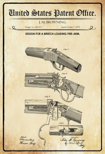 US Patent Office - Design for a Breech Loading Fire-arm - Entwurf für eine Militarfahrzeug Karosserie - Jones, US Army, 1942 - Design No 2.278.450 - Blechschild