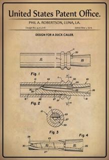 Blechschild Patent Entwurf für eine Ente Anrufer Metallschild Wanddeko 20x30 cm tin sign