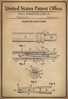 US Patent Office - Design for a Duck Caller - Entwurf für eine Ente Anrufer - Robertson, Los Angeles, 1979 - Design No 4.151.678 - Blechschild