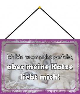 Blechschild Spruch ?, aber meine Katze liebt mich Metallschild 20x30 mit Kordel
