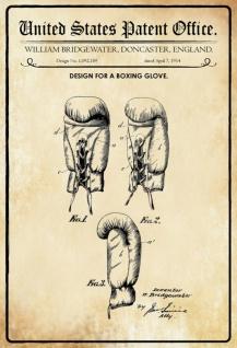 Blechschild Patent Entwurf Boxhandschuh- Bridgewater Metallschild Wanddeko 20x30 cm tin sign