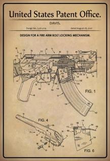Blechschild Patent Entwurf FeuerarmBolzenverriegelung Metallschild Wanddeko 20x30 cm tin sign