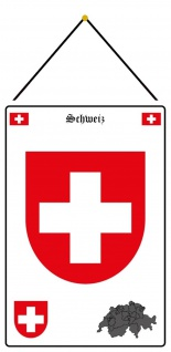 Blechschild Schweiz Wappen Metallschild Deko 20x30 mit Kordel