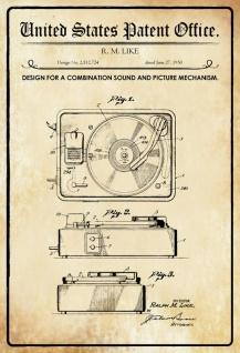 US Patent Office - Design for a combination sound & picture mechanism - Entwurf für einen Kombination Sound & Bild Mechanismus - Like - 1950 - Design No 2.512724 - Blechschild
