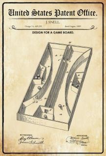 Blechschild Patent Entwurf für Board-Spielbrett Metallschild Wanddeko 20x30 cm tin sign