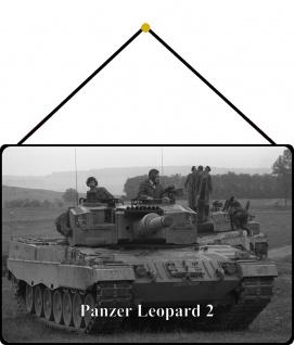 Blechschild Panzer Leopard II Metallschild Wanddeko 20x30 mit Kordel