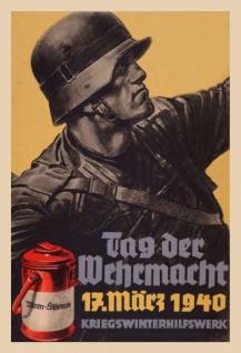 Retro: Tag der Wehrmacht 17 März 1940 Blechschild 20x30 cm - Vorschau