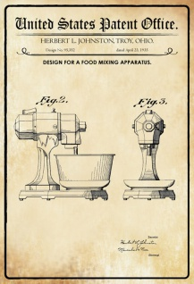 Blechschild Patent Entwurf Lebensmittelmischapparat Metallschild Wanddeko 20x30 cm tin sign