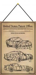 Blechschild Patent Entwurf für Kraftfahrzeug Sportcoupé Deko 20 x 30 m.Kordel