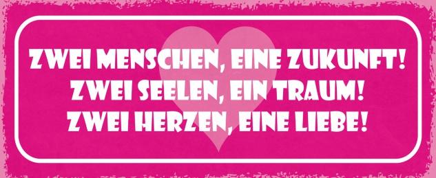 Blechschild Spruch Zwei Menschen, eine Zukunft, zwei Seelen, ein Traum! Zwei Herzen, eine Liebe! Metallschild 27x10 Deko tin sign