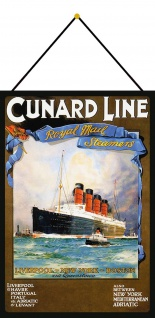 Blechschild Nostalgie RMS Liverpool NY Boston Metallschild 20x30 mit Kordel