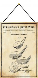Blechschild Patent Entwurf für einen Golf ?Kopf -Schläger Deko 20 x 30 m.Kordel