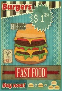 Retro: Burgers Fast Food Blechschild 20x30 cm