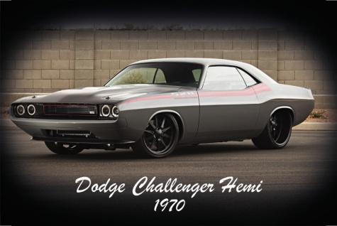 Dodge Challenger Hemi 1970 US Auto, blechschild,
