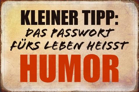 Blechschild Spruch Kleiner Tipp: Passwort fürs Leben Metallschild Wanddeko 20x30 cm tin sign