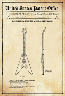Blechschild Patent Entwurf Streichinstrument-McCarty Metallschild Wanddeko 20x30 cm tin sign