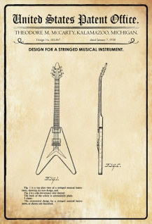 US Patent Office - Design for a Stringed Musical Instrument - Entwurf für einen Streichinstrument - McCarty - 1958 - Design No 181867 - Blechschild