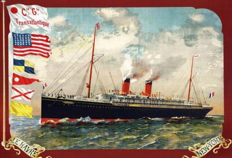Blechschild Nostalgie Dampfschiff Le Havre NY Metallschild Wanddeko 20x30 cm tin sign