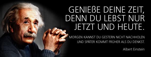 Blechschild Spruch Genieße deine Zeit, denn du lebst nur jetzt und heute. -Einstein- Metallschild 27x10 cm Wanddeko tin sign