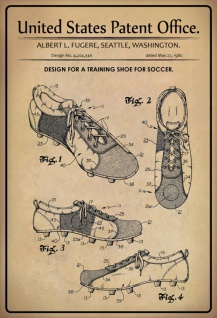 US Patent Office - Design for a Training Shoe for Soccer - Entwurf für einen Soccer Schuh - Fugere - 1980 - Design No 4.204346 - Blechschild