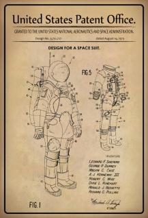 Blechschild Patent Entwurf Weltraumanzug NASA Metallschild Wanddeko 20x30 cm tin sign