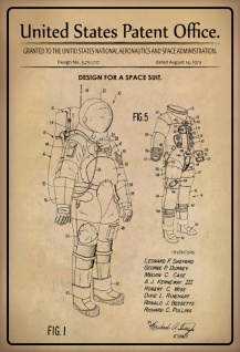 US Patent Office - Design for a Space Suit - Entwurf für ein Weltraumanzug - NASA (Shepard, Durney, Case, Kenneway, Wise, Rinehart, Besette, Pulling 1973 - Design No 3.751.727 - Blechschild