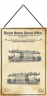 Blechschild Patent Entwurf für einen Eisenbahnwagen Metallschild 20 x 30 Kordel
