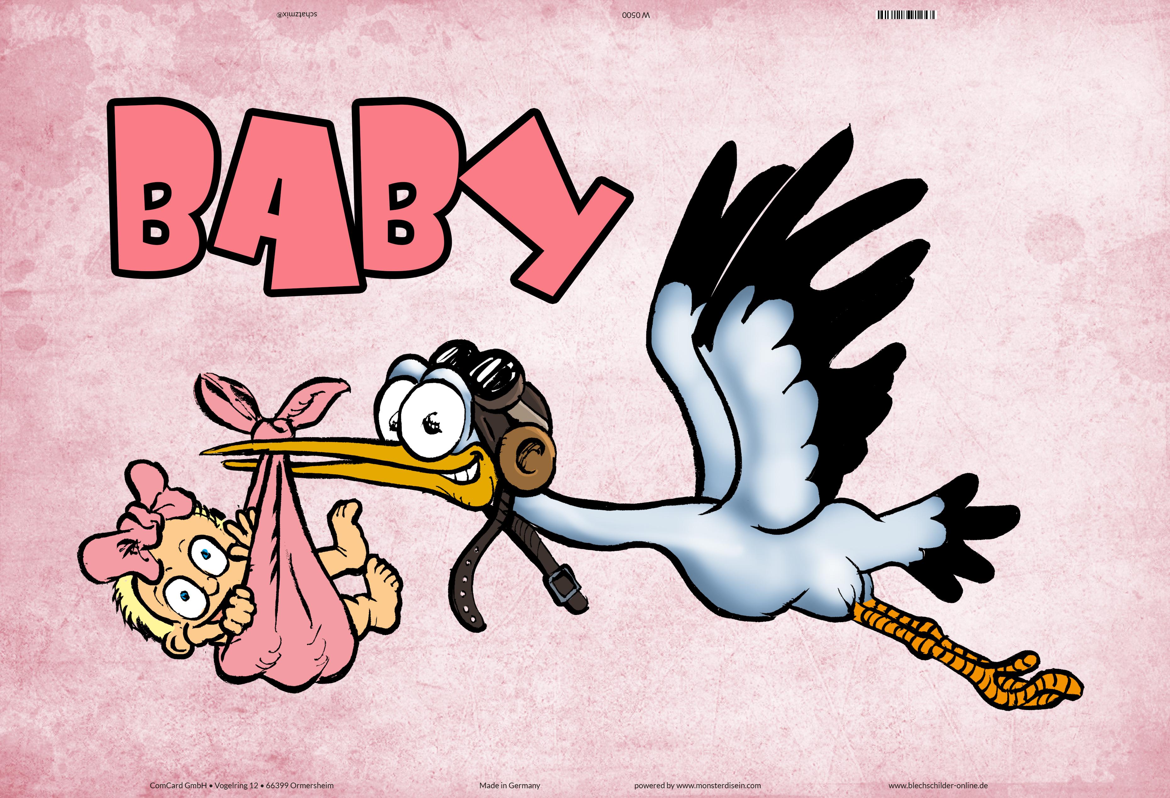 baby  mädchen girl baby storch blechschild geburt kind