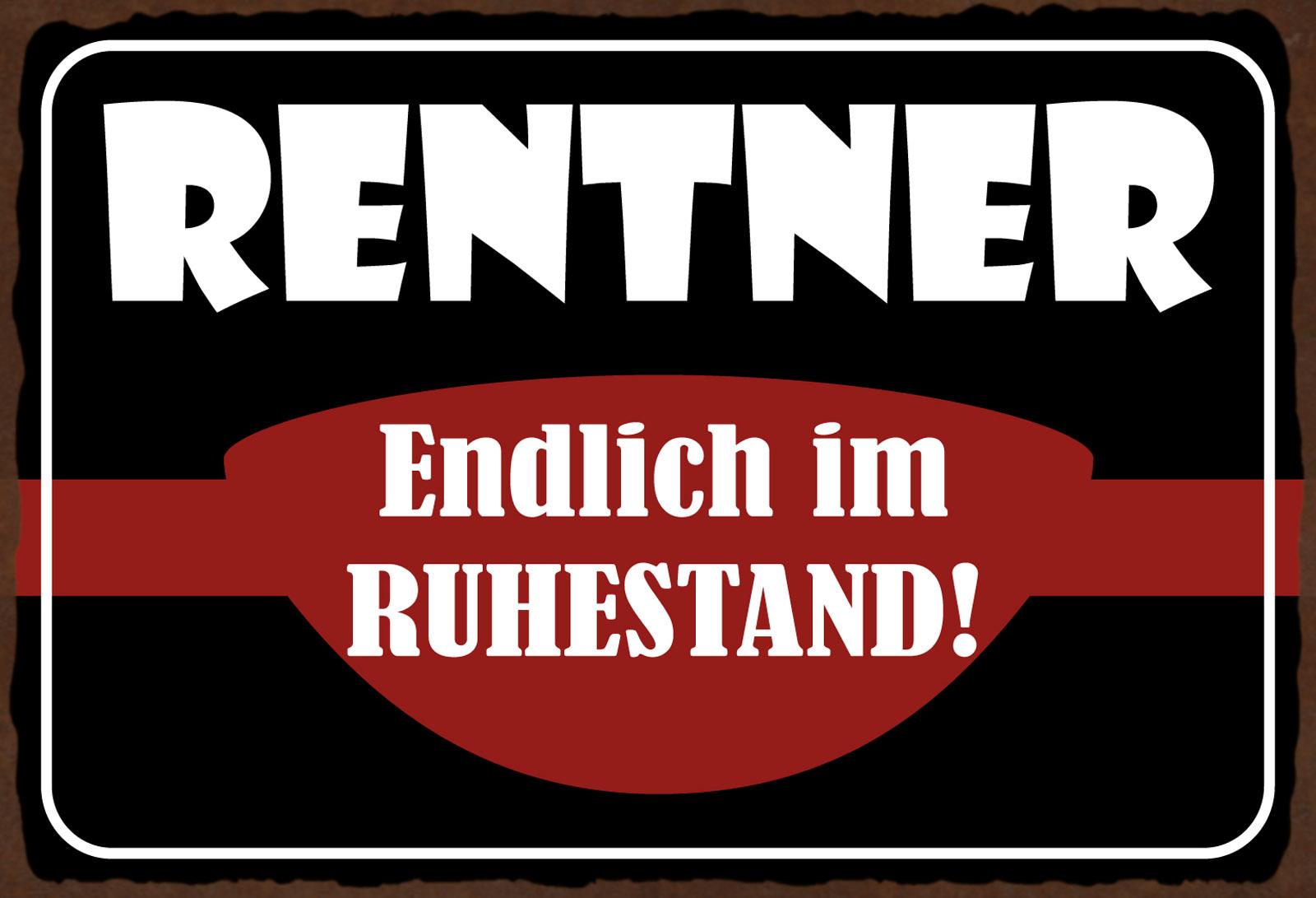 Power Metallschild 20x30 cm Wanddeko tin sign Blechschild Rentner