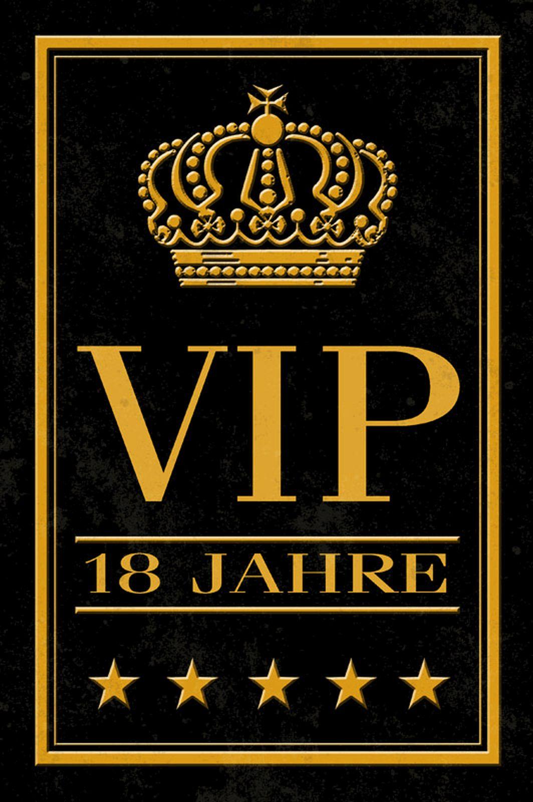 Geburtstag Fun Schild VIP 18 Jahre Alu Blechschild geprägt bedruckt Geschenk