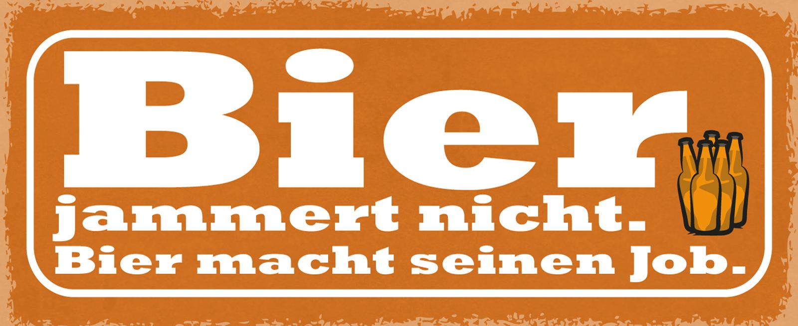 """Blechschild mit Motiv//Spruch /""""Bier jammert nicht/"""""""