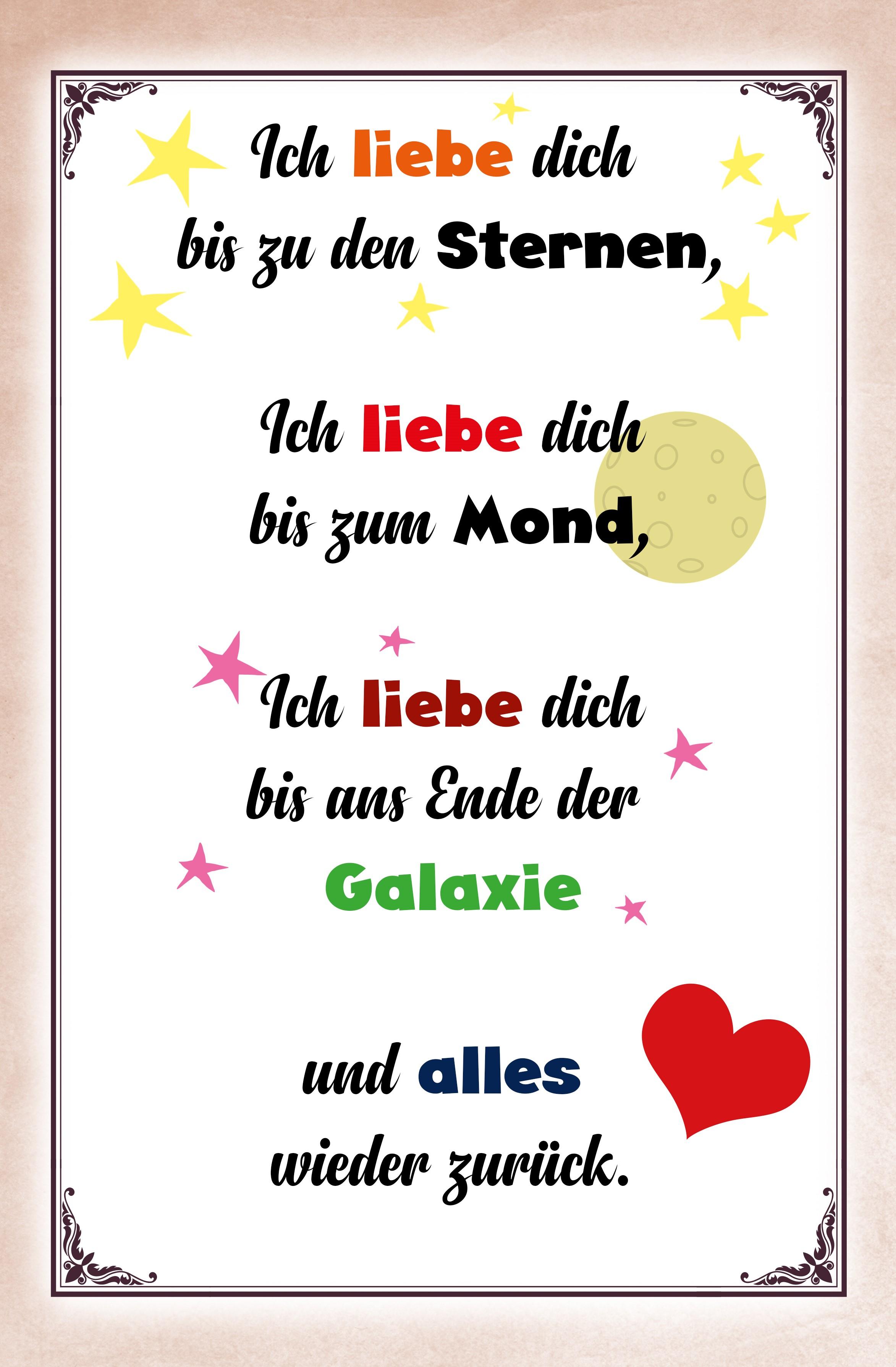 Blechschild Spruch Ich Liebe Dich Bis Zu Den Sternen Metallschild