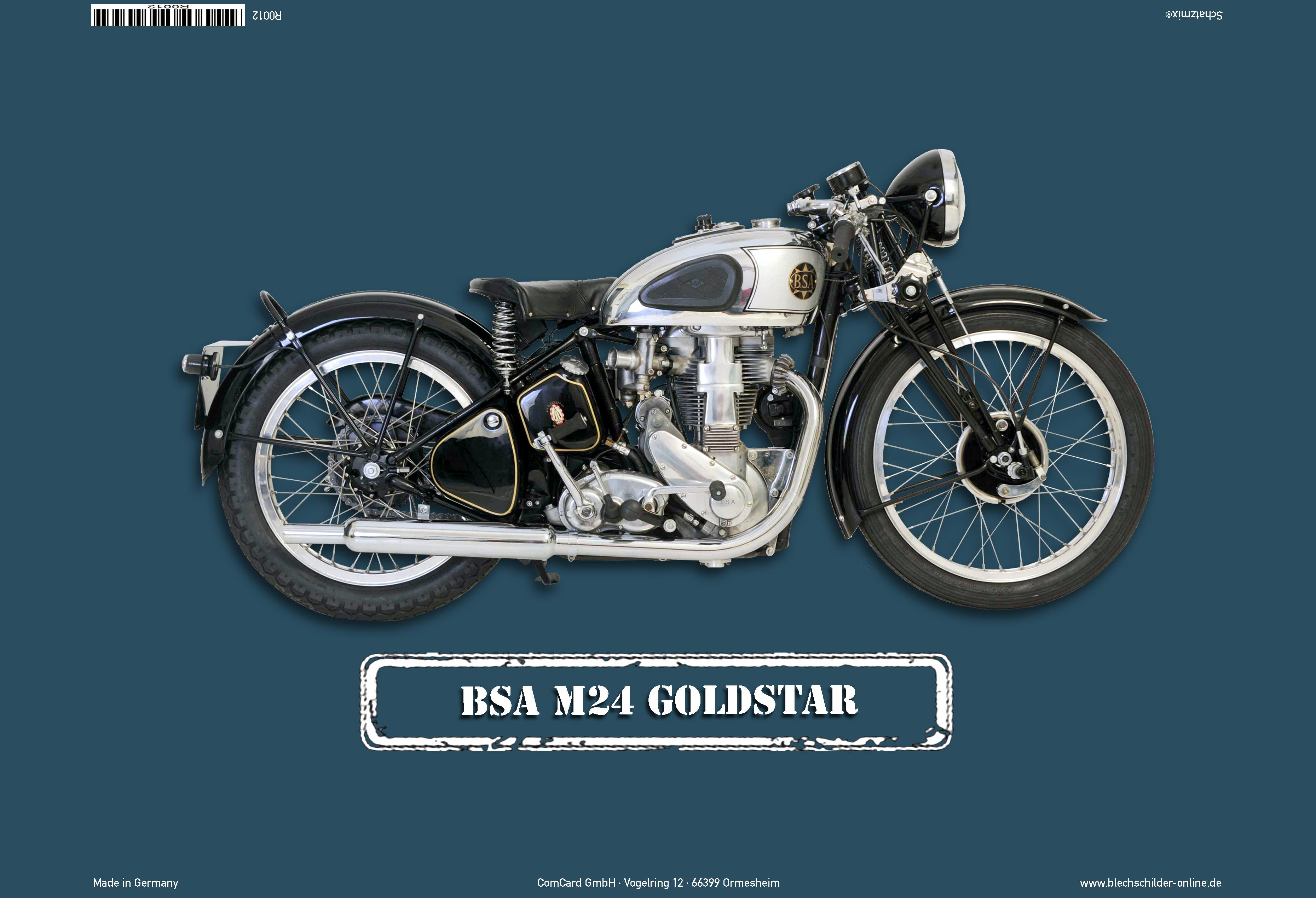 bsa m24 goldstar motorrad blechschild kaufen bei comcard gmbh. Black Bedroom Furniture Sets. Home Design Ideas