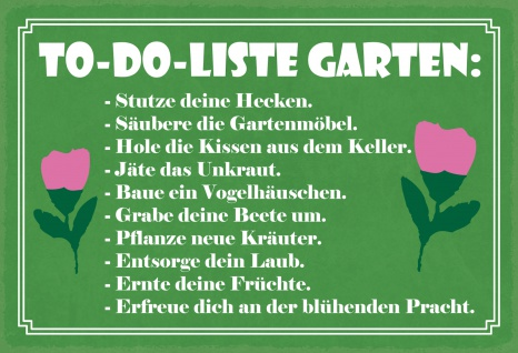 Blechschild Spruch To-Do Liste Garten Metallschild Wanddeko 20x30 cm tin sign